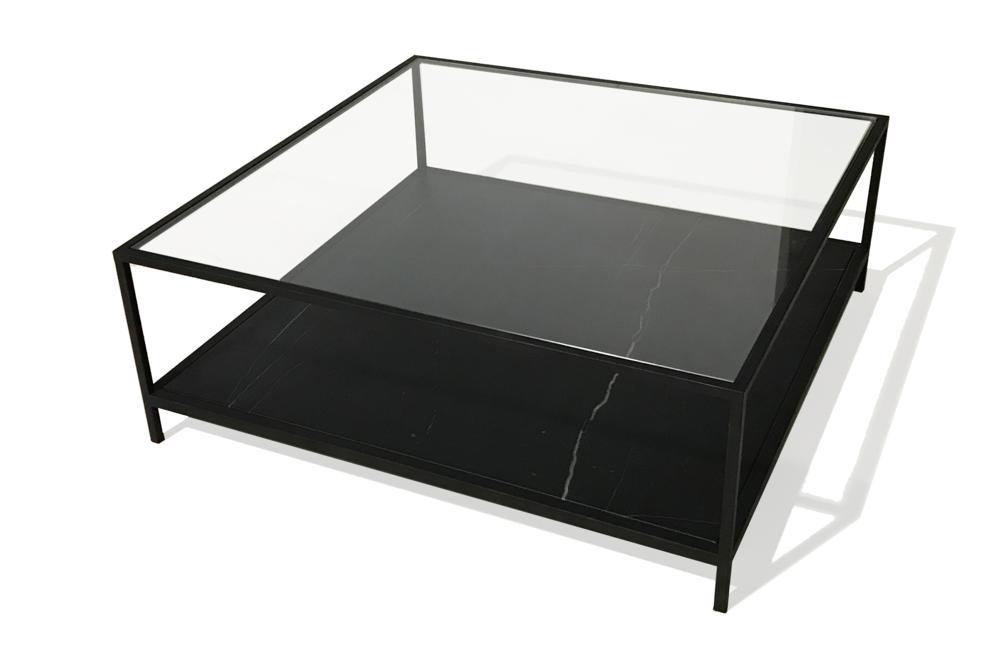 Level Coffee Table   Nero Marquina   Black Level Coffee Table   Square  110x110cm