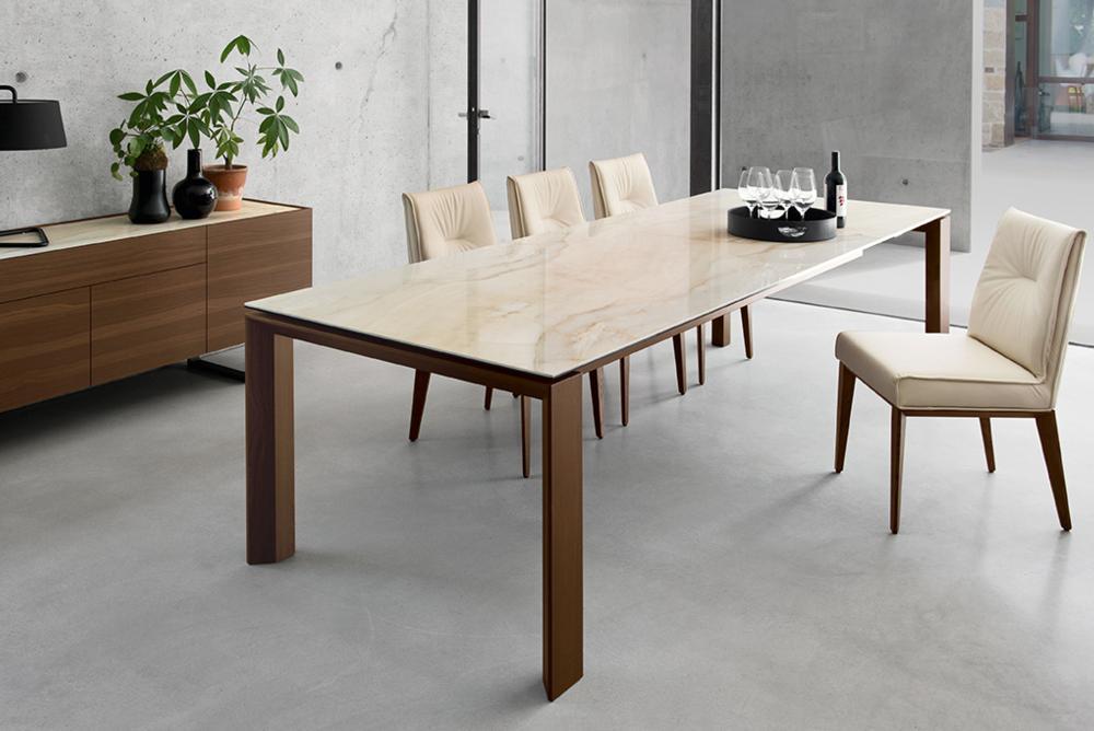 Omnia Table 180(220)x100cm: Walnut / Onyx Ceramic