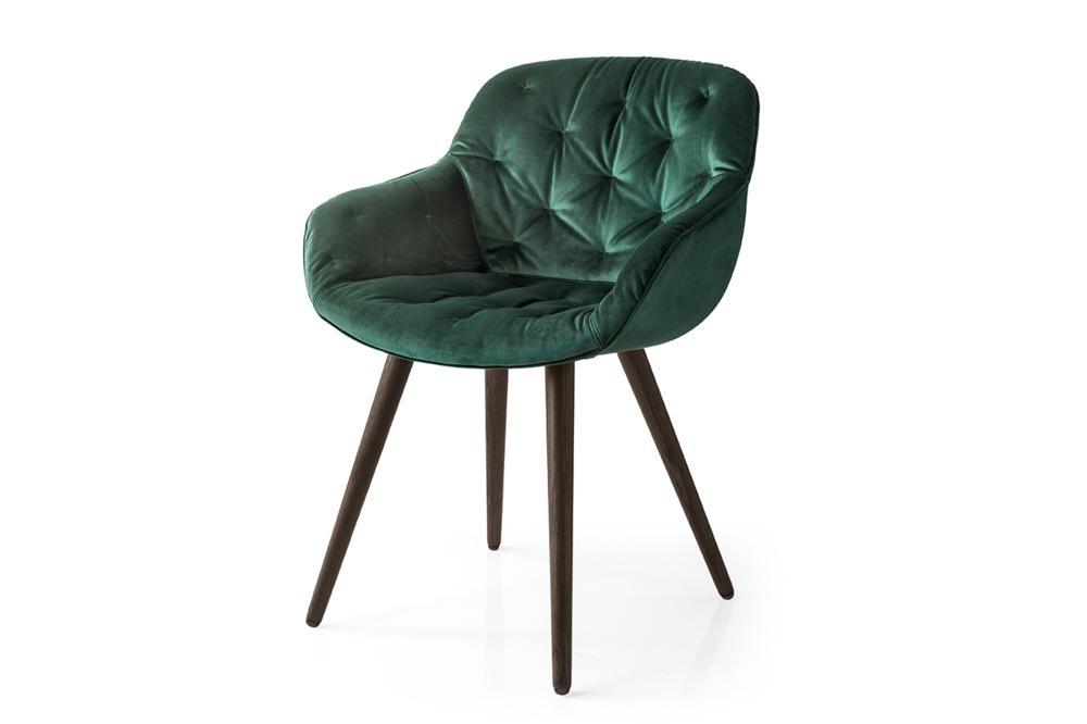 Igloo Soft Dining Chair Green Velvet
