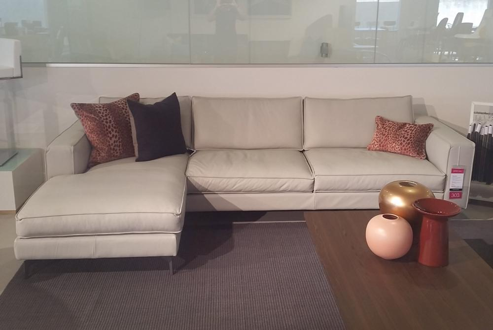 Square Sofa LAF Chaise Cinder Leather Calligaris Square Emotion Cinder  Leather