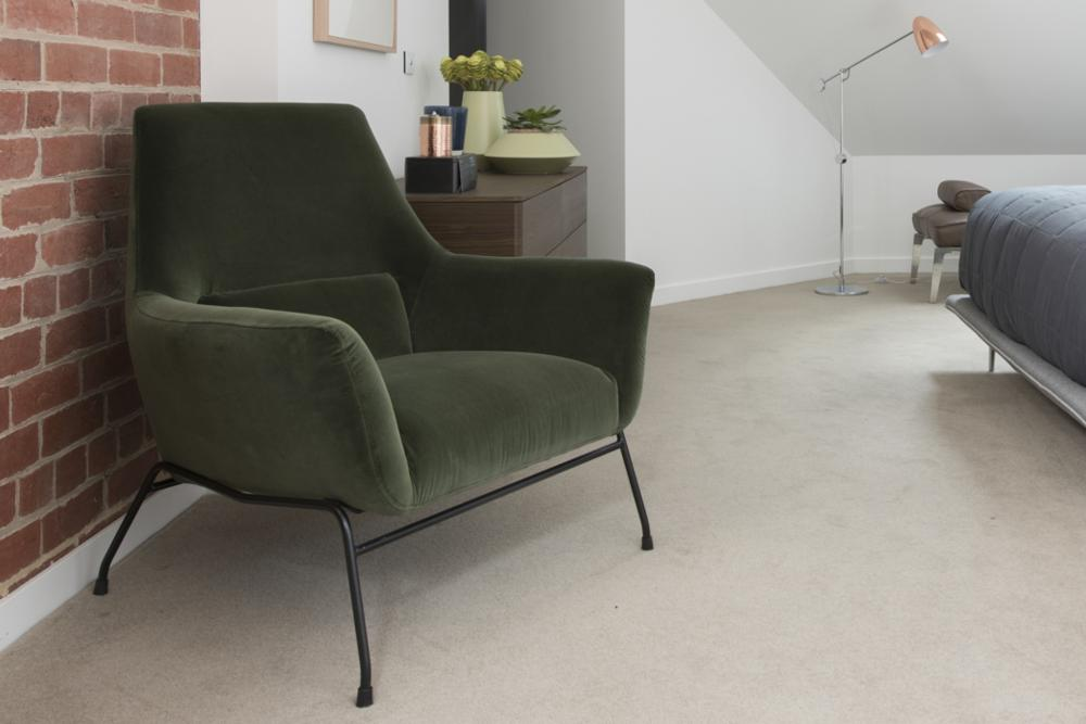 Mies Armchair: Green Velvet
