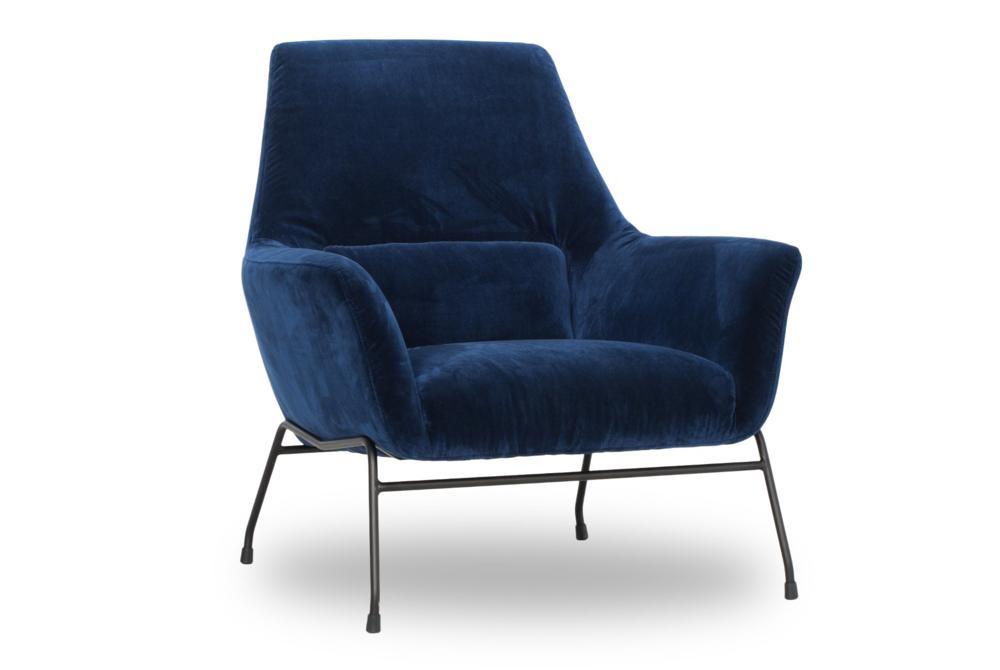 Mies Blue Velvet Side  Mies Armchair Blue Velvet