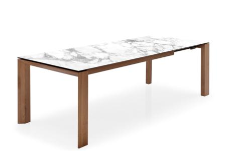 Omnia 160 Ext/Table: Walnut/White Marble Ceramic