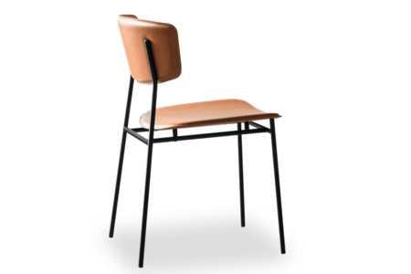 Fifties Chair: Matt Black/Cognac Leather