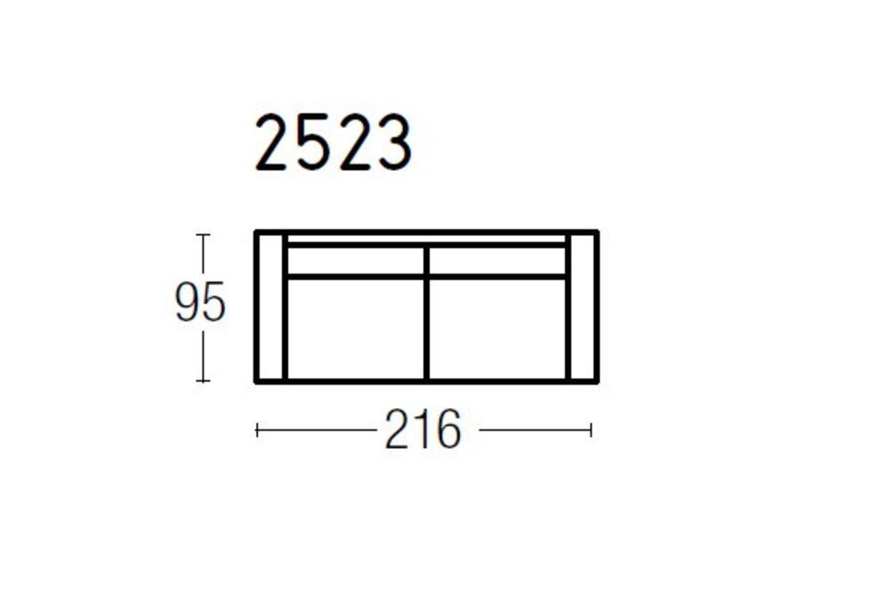 Square Leather 2.5 Seater Sofa