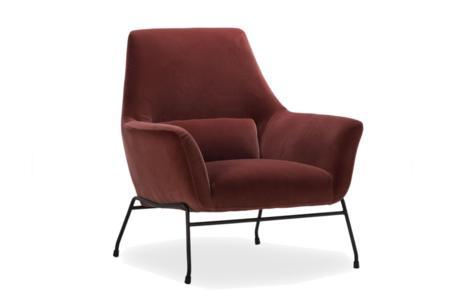 Mies Armchair: Dark Peach Velvet