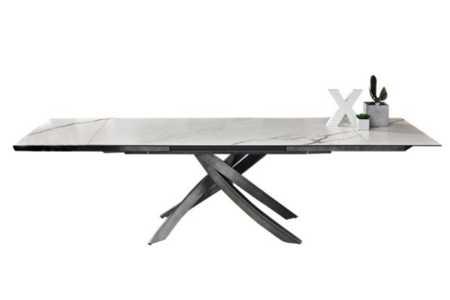 Artistico Ext Table: White Super Marble (ceramic) / Natural Silver