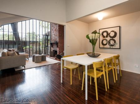 Voyager Property Styling. Open plan dining. Skin chairs and Heron dining table.