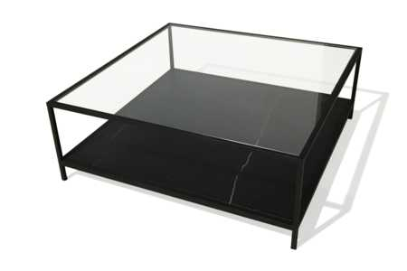 Level Coffee Table - Nero Marquina - Black.jpg  Level Coffee Table - Square 110x110cm - Nero Marquina Black marble base - Tempered glass top - Matte Black metal frame  Level Coffee Table - Nero Marquina - Black.jpg Level Coffee Table - Square 110x110cm - Nero Marquina Black marble base - Tempered glass top - Matte Black metal frame Forwaro Black Marble Coffee Table