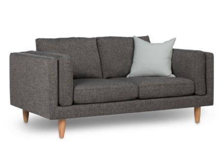 George 2 seater sofa grey light oak leg Angle  George 2 seater Sofa